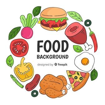 Fondo comida dibujado a mano