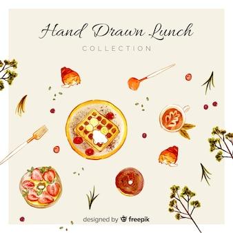 Fondo de comida dibujado a mano