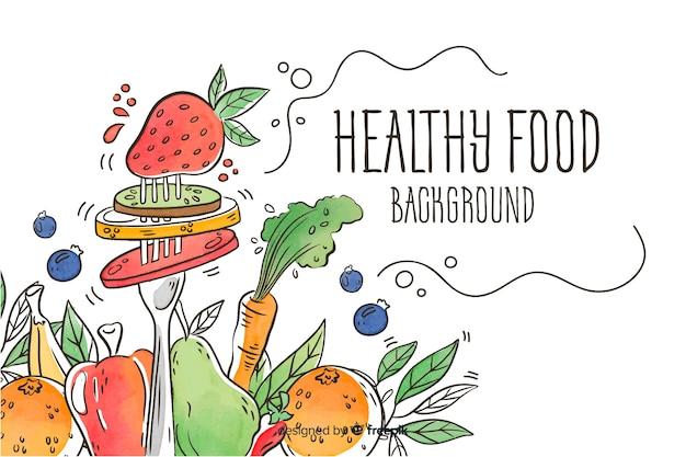Fondo comida fresca tenedor dibujado a mano