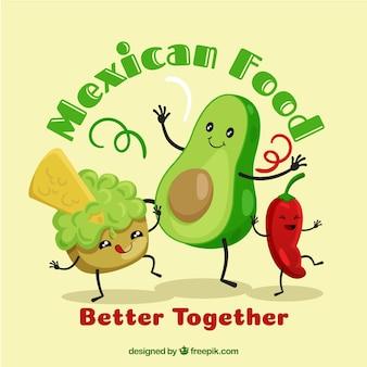 Fondo de comida mexicana con guacamole