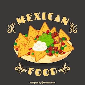 Fondo de comida mexicana con nachos en plato