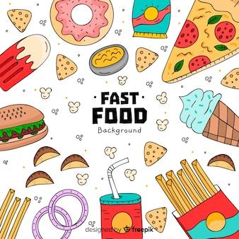Fondo de comida en pizarra dibujado a mano