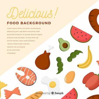 Fondo de comida en pizarra en diseño plano