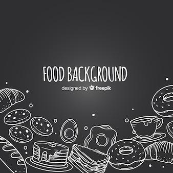 Fondo de comida en pizarra