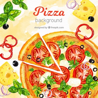 Fondo de comida con pizza