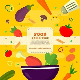 Fondo de comida con pollo y vegetales