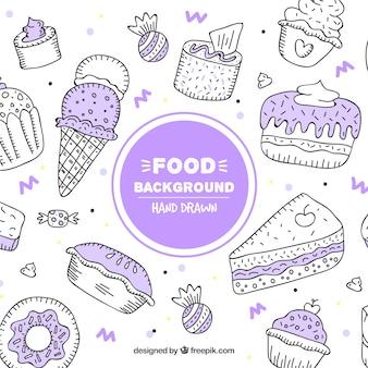 Fondo de comida con postres