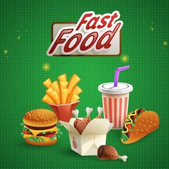 Fondo de comida rápida con bebida