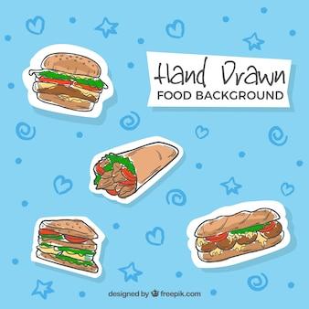 Fondo de comida rápida dibujada a mano