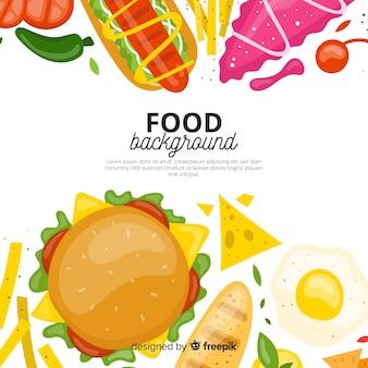 Fondo comida rápida dibujada a mano