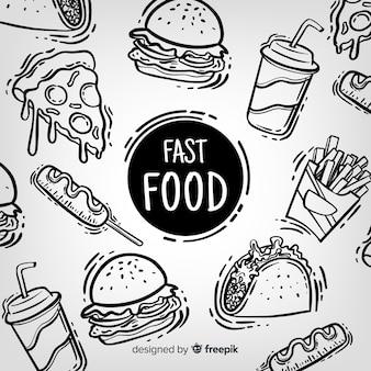 Fondo comida rápida dibujado a mano