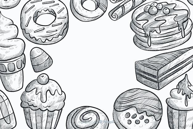 Fondo de comida rápida dibujado a mano
