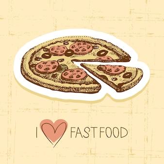 Fondo de comida rápida vintage. ilustración dibujada a mano. diseño de menú