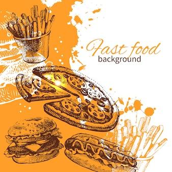 Fondo de comida rápida vintage. ilustración dibujada a mano