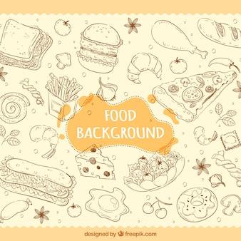 Fondo de comida rica dibujado a mano