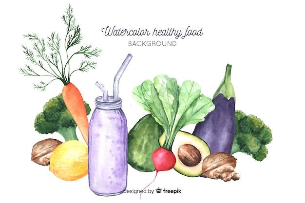 Fondo comida saludable acuarela