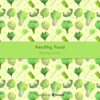 Fondo de comida saludable en acuarela