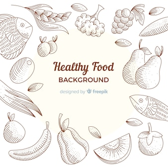 Fondo comida saludable dibujada a mano
