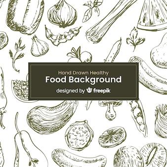 Fondo de comida saludable dibujada a mano