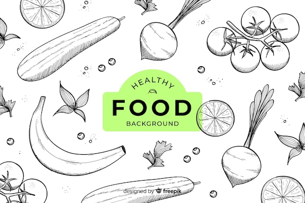 Fondo de comida saludable dibujadas a mano