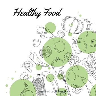 Fondo comida saludable dibujado a mano
