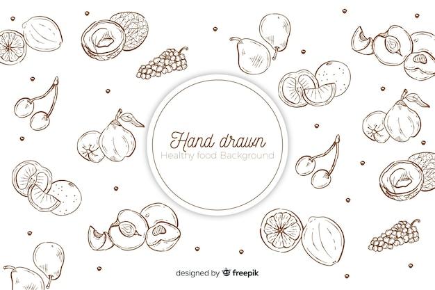 Fondo de comida saludable dibujado a mano