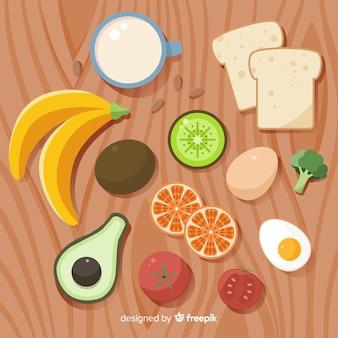 Fondo de comida saludable en diseño plano