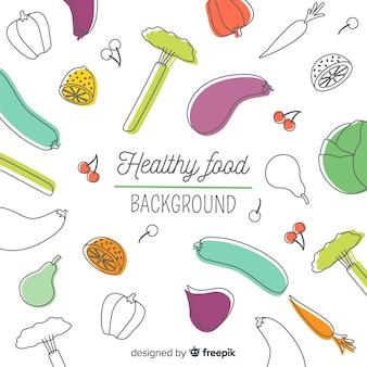 Fondo comida saludable garabatos