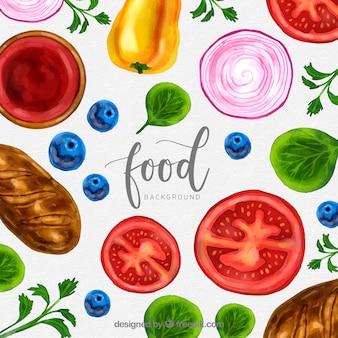 Fondo de comida sana en acuarela