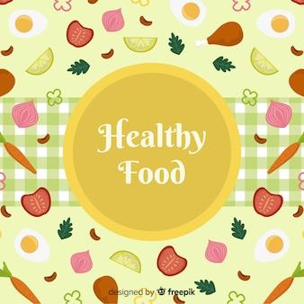 Fondo comida sana dibujada a mano