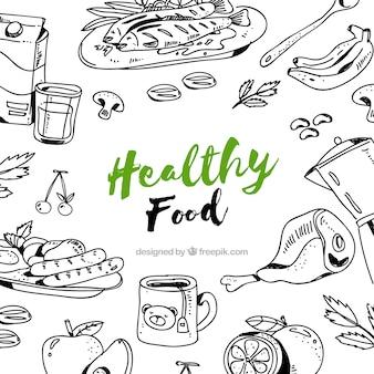 Fondo de comida sana dibujado a mano
