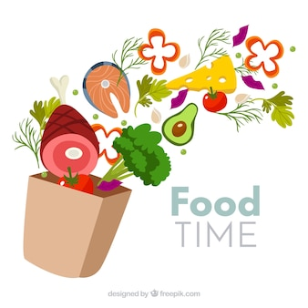 Fondo de comida sana con diseño plano