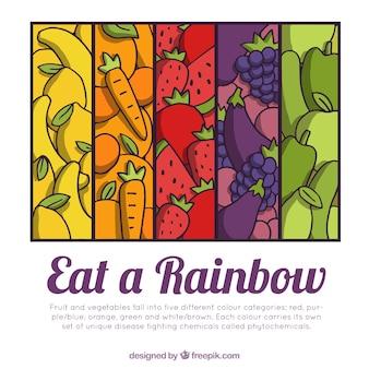 Fondo de comida sana con estilo de dibujo a mano