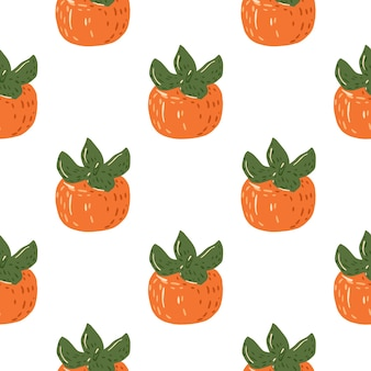 Fondo de comida transparente aislado con adorno de caqui maduro. frutas anaranjadas sobre fondo blanco. ideal para diseño de tela, estampado textil, envoltura, cubierta. .
