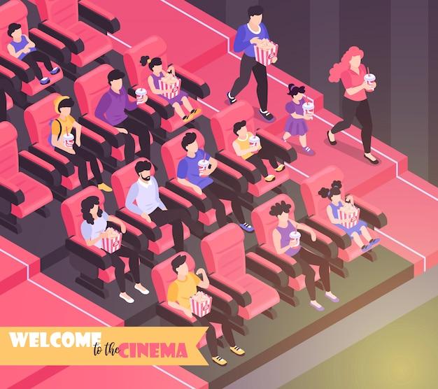 Fondo de composición de cine de película isométrica con vista interior del auditorio de cine con sillas e ilustración de audiencia
