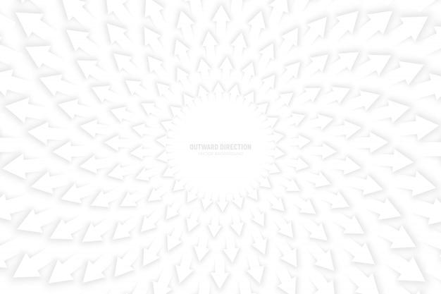 Fondo de composición radial de flechas blancas