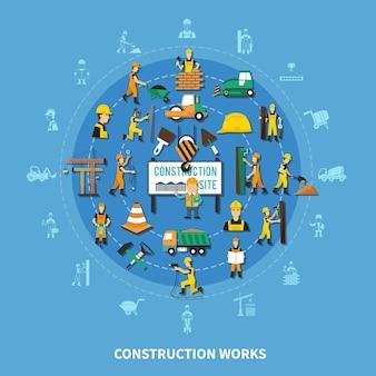 Fondo de composición redonda de trabajador de construcción