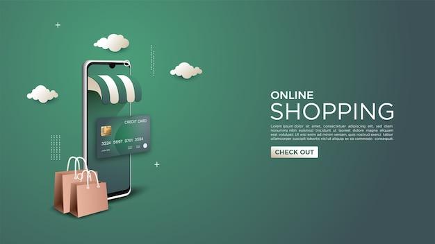 Fondo de compras en línea ilustrado con tarjeta de crédito y teléfono móvil 3d
