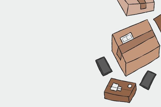 Fondo de compras en línea de vector de doodle de entrega de paquetes