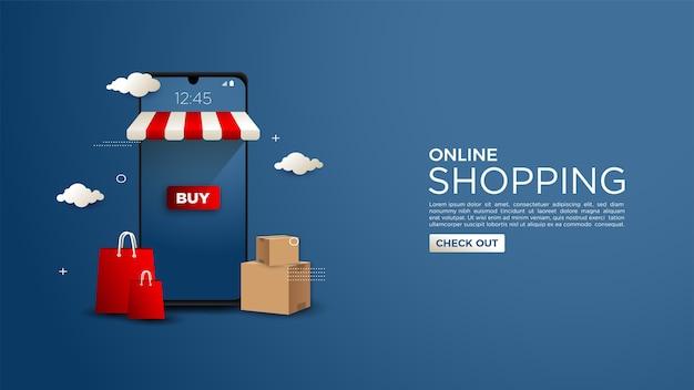 Fondo de compras online con ilustraciones 3d de teléfonos móviles y bolsas de la compra.