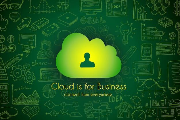 Fondo de computación en la nube con iconos