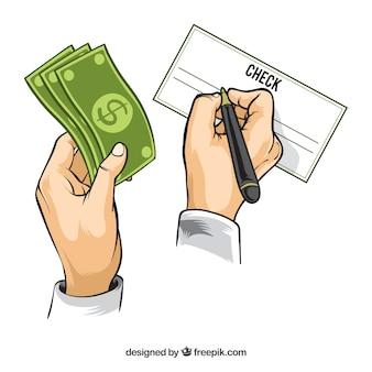 Fondo con diseño de cheque