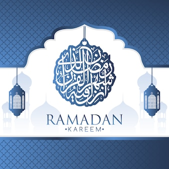 Fondo con diseño de lámparas arábigas azules