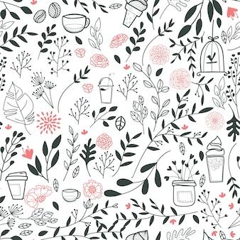 Fondo con patrón de hojas y bebidas