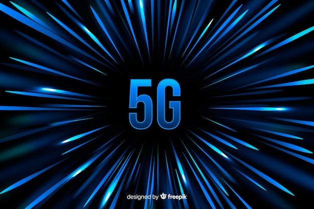 Fondo de concepto 5g con fondo de líneas de velocidad azul