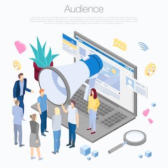Fondo del concepto de audiencia, estilo isométrico