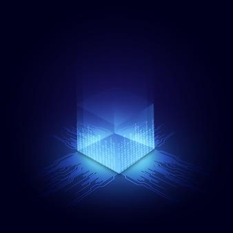 Fondo de concepto de blockchain de red de circuito abstracto