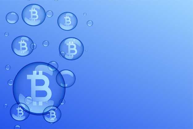 Fondo de concepto de caída del mercado de burbujas de bitcoin