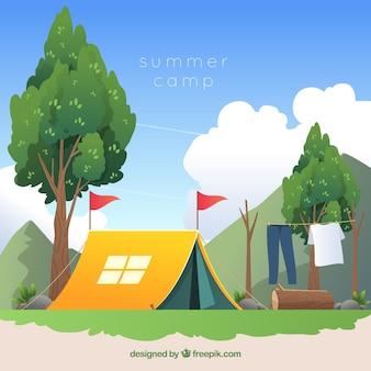 Fondo concepto campamento de verano en diseño plano
