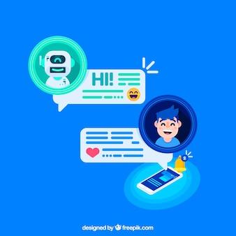 Fondo de concepto chatbot con dispositivo móvil